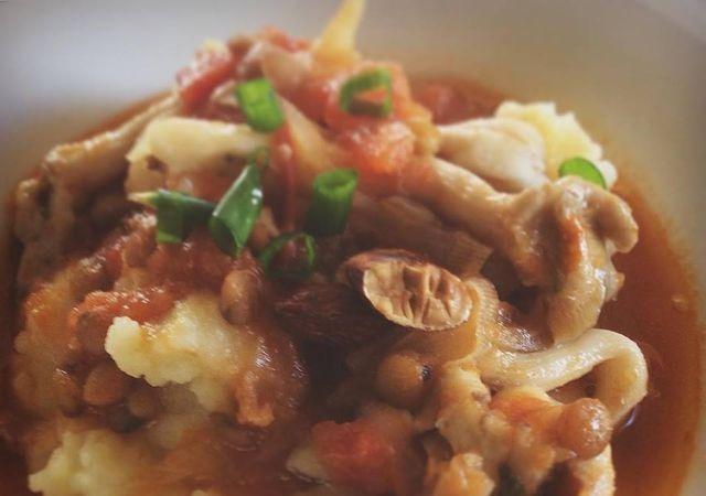 polenta com ragu - de cogumelos - cozinha
